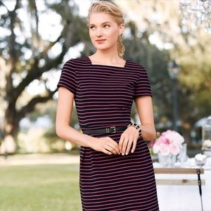 Talbots Corded Pink Stripe Fit & Flare
